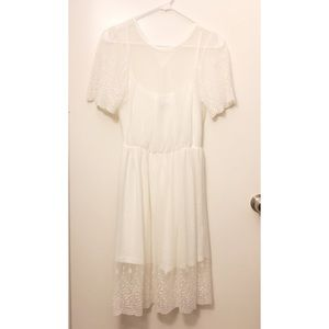 Lace white midi dress, XS